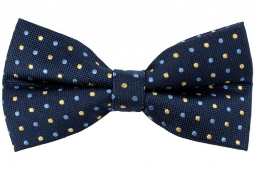 Silk Blue Bow Tie With Yellow and Blue Dots